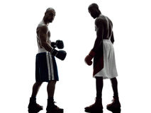 Men boxers boxing isolated silhouette Royalty Free Stock Images