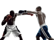 Men boxers boxing isolated silhouette Royalty Free Stock Photo