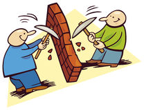 Men breaking wall. Illustration of two happy men breaking the wall royalty free illustration