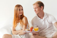 Free Men Brings Breakfast Stock Photography - 46151992