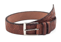 Men brown belt isolated on white Stock Images