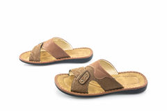 Men brown leather sandals or flip flop shoes. Stock Image
