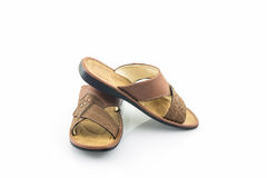 Men brown leather sandals or flip flop shoes. Stock Photo
