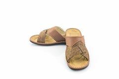 Men brown leather sandals or flip flop shoes. Stock Photos