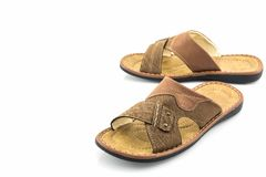 Men brown leather sandals or flip flop shoes. Royalty Free Stock Photo