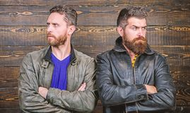 Men brutal bearded hipster. Exude masculinity. Confident competitors strict glance. Masculinity concept. Masculinity. Attributes. True men temper. Brutality stock images