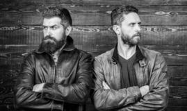 Men brutal bearded hipster. Exude masculinity. Confident competitors strict glance. Masculinity concept. Masculinity