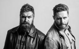 Men brutal bearded hipster. Handsome stylish and cool. Masculine and brutal friends. Bully team. Masculinity and stock image