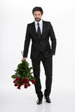 Men with bunch of roses. stock photo