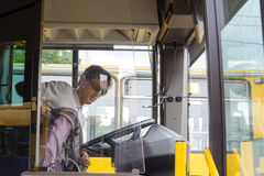 Men bus driver of city bus Royalty Free Stock Image