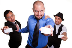 Men with business cards Stock Image