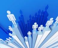 Men on business chart graph. Symbols of 3d men are standing on business chart graph Stock Photo