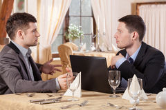 Men during business meeting royalty free stock image