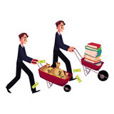 Men, businessmen pushing wheelbarrows, one with books, another holding money. Two men, businessmen pushing wheelbarrows, one with pile of books, another holding Stock Image