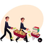 Men, businessmen pushing wheelbarrows, one with books, another holding money. Two men, businessmen pushing wheelbarrows, one with pile of books, another holding Royalty Free Stock Photography