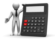 Men with calculator. 3d Very beautiful three-dimensional illustration Royalty Free Stock Images