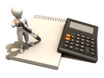Men with calculator and notebook. 3d Very beautiful three-dimensional illustration Royalty Free Stock Image