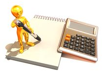 Men with calculator and notebook. 3d Very beautiful three-dimensional illustration Stock Photography