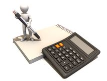 Men with calculator and notebook. 3d Very beautiful three-dimensional illustration Stock Photos