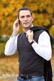 Men calling by phone Stock Photo