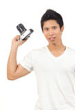 Men and camera Royalty Free Stock Photography