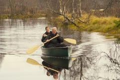 Men in canoe Royalty Free Stock Photos