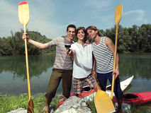 Men with canoe in nature io Royalty Free Stock Photography