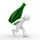 Men carry bottle on back. Isolated 3D image Stock Photography