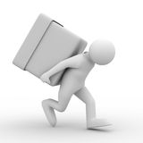 Men carry box on back Royalty Free Stock Photo
