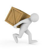 Men carry box on back Stock Photo