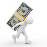 Men carry dollars on back Royalty Free Stock Images