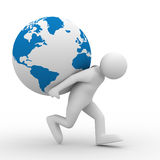 Men carry globe on back. Isolated 3D image Royalty Free Stock Photos