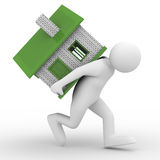 Men carry house on back. Isolated 3D image Stock Photo