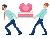 Men carry a huge cake Valentines Royalty Free Stock Images