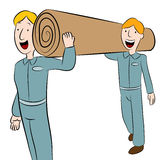 Men Carrying a Roll of Carpet royalty free illustration