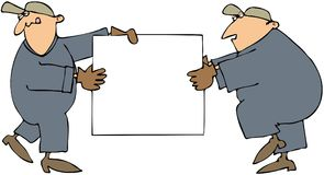 Men Carrying A Sign. This illustration depicts two workmen carrying a blank sign Stock Photo
