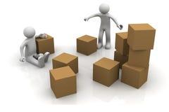 Men with carton box Stock Photography