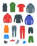 Men casual clothes for fitness training. Basic garments for gym workout. Vector flat illustration. Outfit for active modern man. stock images