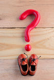 Men casual shoes and a question mark Royalty Free Stock Photography