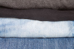 Men casual wear shirt and jean isolated. Close - up Men casual wear shirt and jean Royalty Free Stock Images