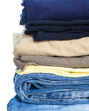 Men casual wear shirt and jean. Isolated on white background Royalty Free Stock Photography