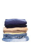 Men casual wear shirt and jean. Isolated on white background Stock Photo