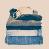 Men casual wear shirt and jean isolated on white. Background Royalty Free Stock Photography