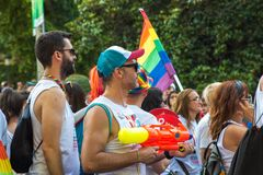 Madrid, Spain - 07 July 2019 - Gay Pride, Orgullo Gay Parade - People Celebrating Love stock photography