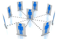 Men the center circle in social network map Stock Images