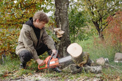 Men with chainsaw Royalty Free Stock Photography