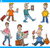 Men characters set cartoon illustration Stock Photos