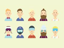 Men characters. Snowboarder and skier heads in helmet and glasses. Royalty Free Stock Images
