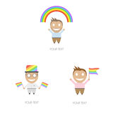 Men characters support gay pride. Stock Images