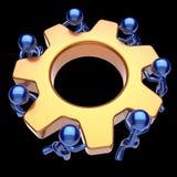 Men characters teamwork gear wheel cogwheel business icon Stock Images